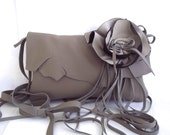 brown leather handbag, clutch, wristlet in cream, taupe, brown  with detachable flower rose by Tuscada. Made to order.