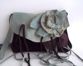 brown leather suede handbag with flower 'rose' hand dyed goatskin in blue-green. reserved for S