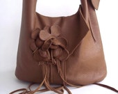 brown leather  handbag, shoulder bag  with detachable flower and soft adjustable straps. Made to order by Tuscada