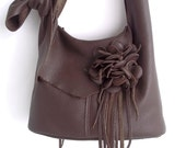 Large brown leather handbag, messenger with detachable flower, made to order, by Tuscada
