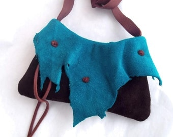 brown and turquoise suede shoulder purse or hip bag. Ready to ship by Tuscada