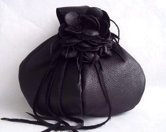 black wristlet in leather with detachable flower hat pin or brooch, made to order