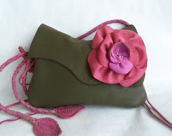 olive green leather handbag, messenger with detachable pink rose flower and strap. Ready to ship.