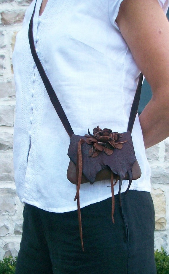 small  brown deerskin leather  shoulder purse or hip bag with flower