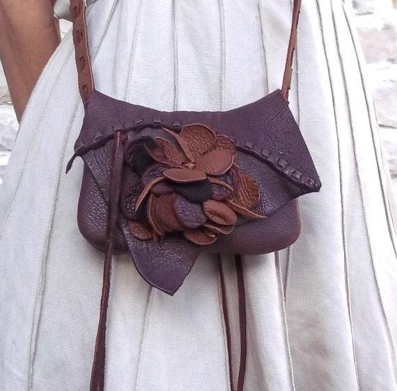 recycled brown shoulder purse or hip bag with flower design and adjustable strap