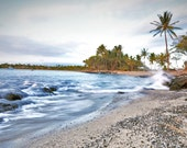 Island Decor- Fine Art Hawaii Print- Tropical Escape Beach Photo- Sprign Break Travel Print Blue Misty Ocean Sunset,Palm Tree Sway 8x10