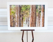 5x7 Forest Photo- Rustic Woodland 5x7 Photo Card-Coffee Brown Nougat Trees, Boho Whimsical Forest Fall harvest Time Fall Wedding