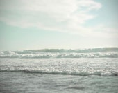 Ocean Photography, Landscape - Aqua, Mint Green, Ocean Waves,  Beach Photography, Wall  Decor-  Beach Cottage Decor- 11x14