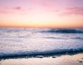 Sunset Photograph, Ocean Photography, Beach Photography, Pink, Yellow, Nautical Decor, 8x10 Landscape Photograph
