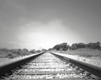 Railroad Photograph, Black and white Art, Train Decor, Train Tracks, Inspirational, Grey White,