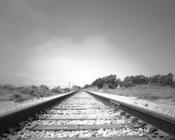 Railroad Photograph, Black and white Art, Train Decor, Train Tracks, Inspirational, Grey White,
