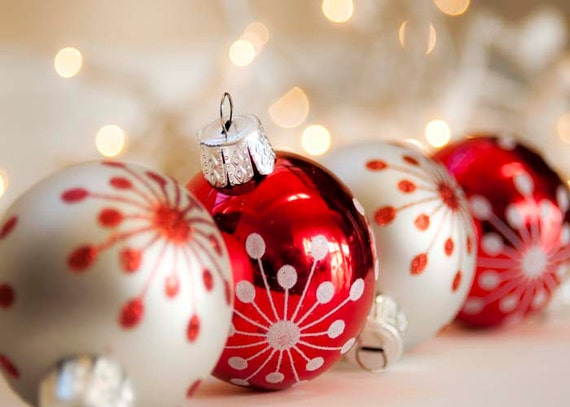 40% OFF- Christmas Decor Christmas Ornaments Photo- Red Silver Christmas Celebration Holiday Art 5x7 Photography