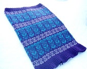 Nordic Heart Design Knitted Fairisle Snood Cowl Neck Warmer Purple & Blue