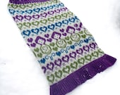 Russian Dolls Heart Knitted Fair isle Cowl Snood Neck Warmer Purple & Gray/Grey