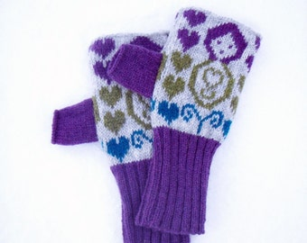 Russian Doll Knitted Fairisle Handwarmers Purple & Gray/Grey
