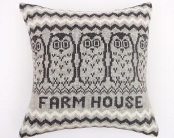 Personalised Owl Design Fair isle Knitted Cushion Grey/Gray