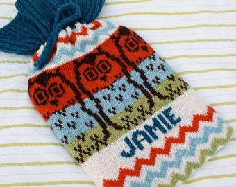 Personalised Owl Hot Water Bottle Cosy/Cozy