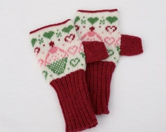 Pink Fairy Cup Cake knitted Fairisle Hand warmers