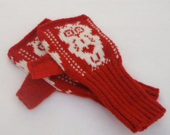 Red & White Owl Fair Isle Knitted Hand Warmers