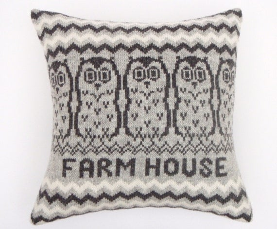 Personalised Owl Design Fair isle Knitted Cushion Grey/Gray