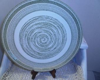 Vintage El Verde Plates, Spiral Green, Chop & Bread Plates, Dinnerware, Serveware
