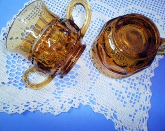Vintage Cream and Sugar Set, Indiana Glass, Golden Amber Colony Kings Crown Glass