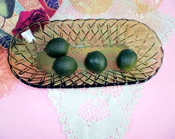 Vintage Green Glass Dish, Indiana Glass, Avocado Green, Pretzel Celery Dish