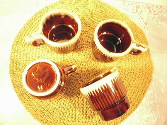 Vintage Cups,4 Sweet Brown Drip Coffee Mugs, Monmouth Western Pottery MapleLeaf