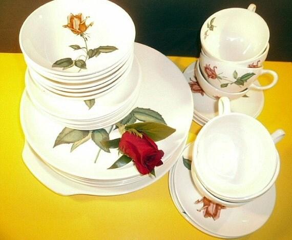 Shabby Chic Long Stemmed Pink Roses 1950s Dinnerware Set
