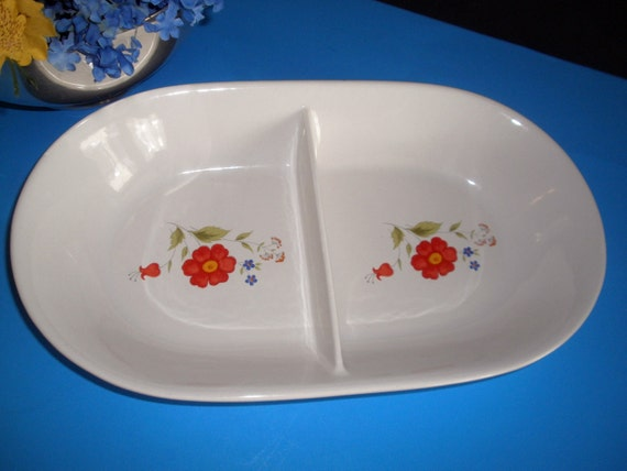 Vintage Stoneware Divided Serving Dish Family Style