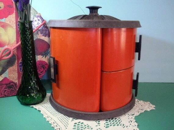 Super Sweet 1960s 1970s Burnt Orange Metal Canister Set with Faux Bois Lid on Lazy Susan