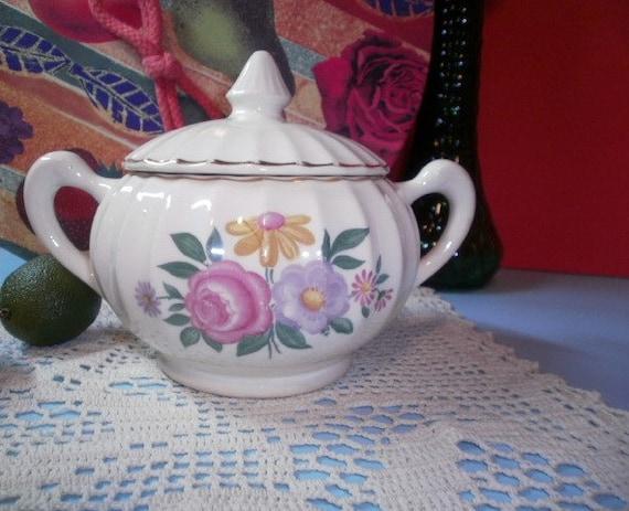 Vintage 1940s Bolero Sugar Bowl Romance Floral Pattern W S George