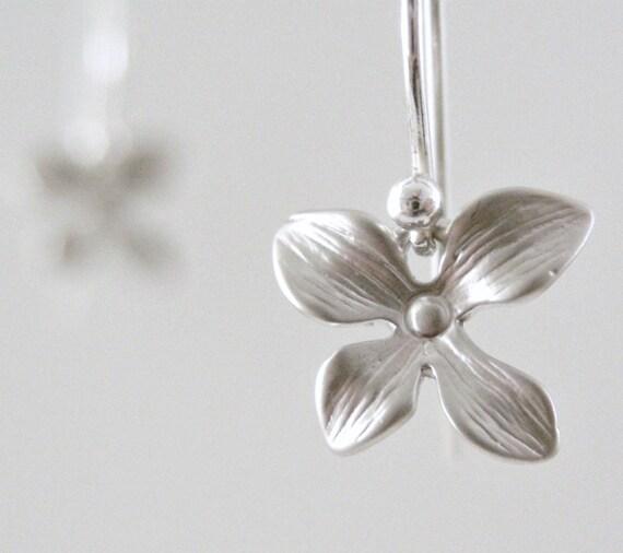 Silver Earrings Dogwood Flowers Petite Dangle - Under 25