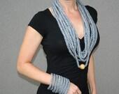 ECO Grey Elegance Set of 2  Crochet Necklace and Bracelet Gift under 30 Mothers day gift idea