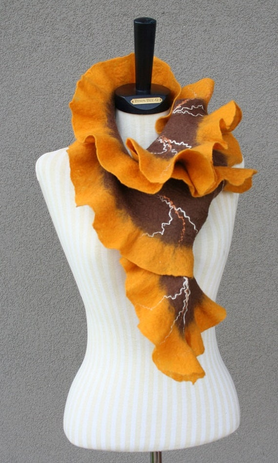 Felted ruffled Scarf Orange Brown  Valentines day gift idea