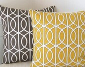Designer Decorative Pillow Cover, Citrine Yellow & White Swirls, One 16x16, Throw Pillow, Cushion Cover