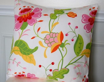 Floral Pillow Cover, Pink Throw Pillow, Floral Decorative, 16x16 Throw Pillow, Floral Cushion Cover