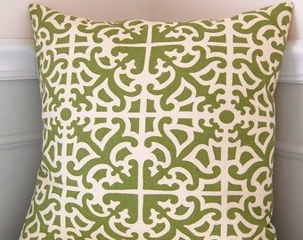 Geometric Decorative Pillow Cover, Green and Cream, Waverly Parterre, 18x18 Throw Pillow, Cushion Cover