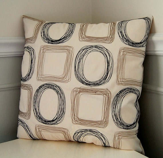 Taupe Pillow Cover, Geometric Throw Pillow, Taupe, Black and Cream, 18x18 Inch Throw Pillow, Geometric Cushion Cover