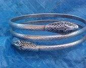 Vintage Snake Bracelet-Silver tone Solid Halloween Jewelry