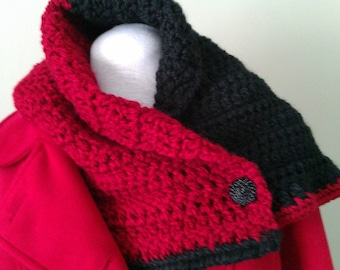 Black & Red Crochet Chunky Neck Scarflette Neckwarmer Cowl handcrafted with Tie On Button Closure OOAK
