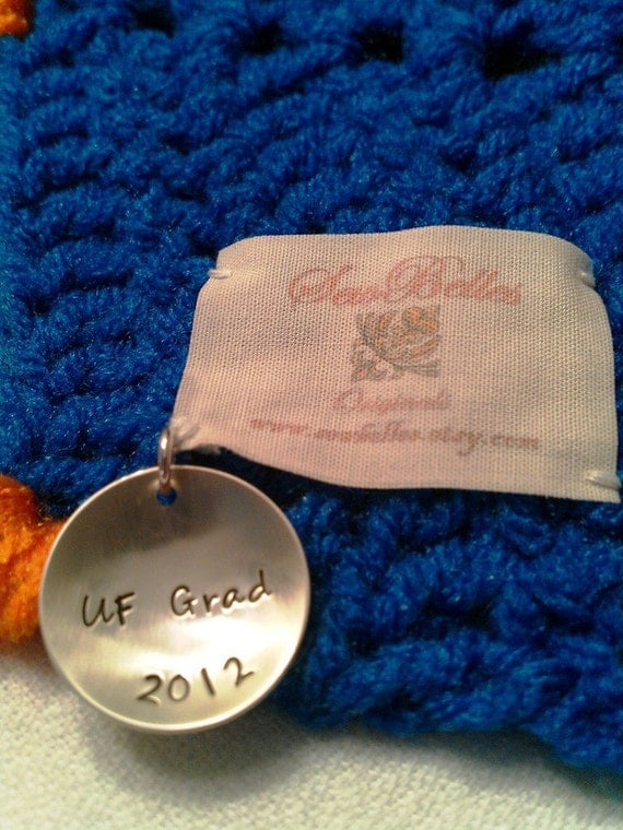 Orange, Blue UF Gator Afghan with UF Grad 2012 Sterling Silver Charm or Personalized Charm Chevron Ripple