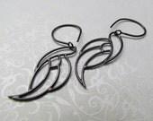 Antiqued Guardian Angel Wing Earrings (Medium Wings)