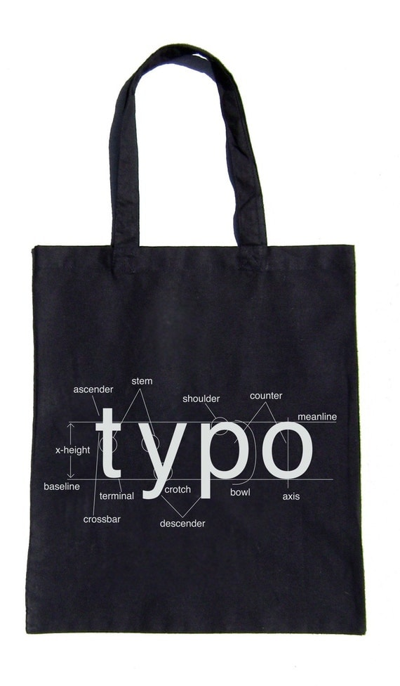 Typography Helvetica Bag Font Diagram Grocery Tote Schematic