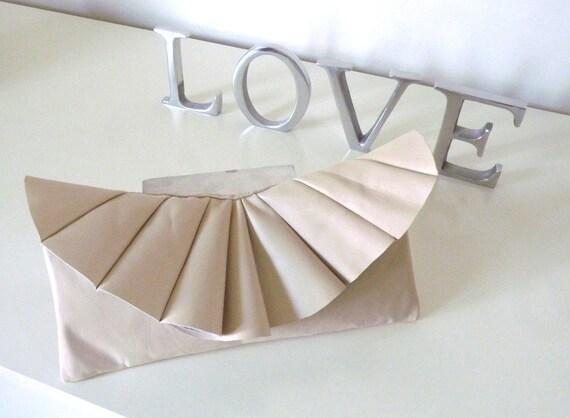 Leather pleated clutch, custom order for Anastasia