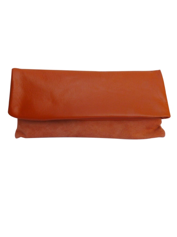 SALE Foldover leather and suede clutch bag, large