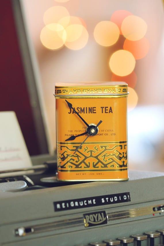 Small- Mustard Tea Tin Desk Clock