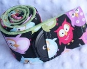 Camera Strap Cover with Lens Cap Pocket - Padded Minky - Photographer Gift - Sleepy Owls with Green