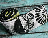 Camera Strap Cover with Lens Cap Pocket - Padded Minky - Photographer Gift - Green and Black Butterflies with Black Minky