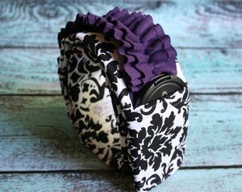 Ruffled Camera Strap Cover Padded with Lens Cap Pocket - Photographer Gift - Black and White Damask with Purple Ruffle